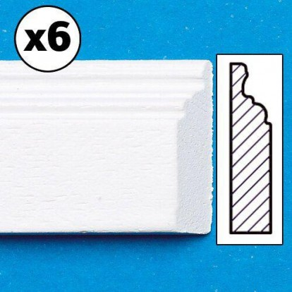 White Painted Skirting Board, 6 pieces 7172