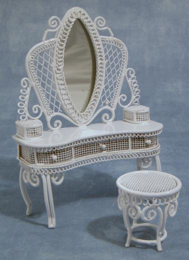 White wire dressing table with stool