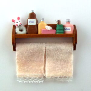 Walnut Shelf with Towels & Toiletries