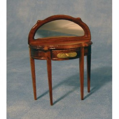 Walnut Half Round Hall Table with Mirror DF1224