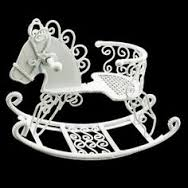 DF538 White wire rocking horse