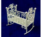 VF1097 White Wire Rocking Cot