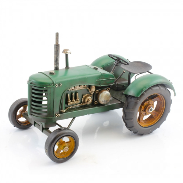 Tin Plate Metal Tractor Green 16cm lp24948
