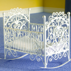 Decorative Cradle in White Wire.
