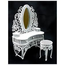 VF1104 White wire dressing table with stool