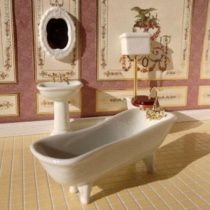 White Classic Bathroom, 4 Pcs Dolls 1715