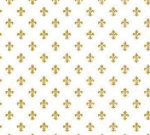Fleur De Lys Wallpaper Gold & White DHP34