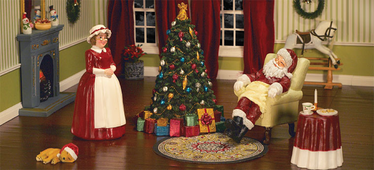 Christmas Santa Scene Miniature Dollhouse Picture
