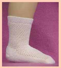 Ribbed Doll Socks in White Diamond design